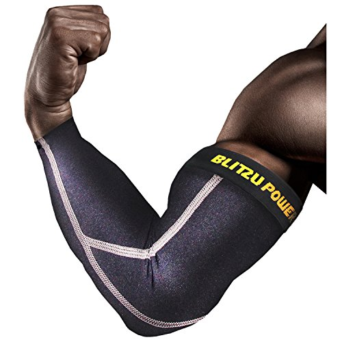 "Elbow Compression Sleeve (1 Pair) Blitzu POWER + Biceps Arm Brace Support. Premium Shooter Sleeves. For Basketball, Baseball, Tennis, Yoga, Golf. (Black, X-Large ( Bicep 14.5""-16"" ))"