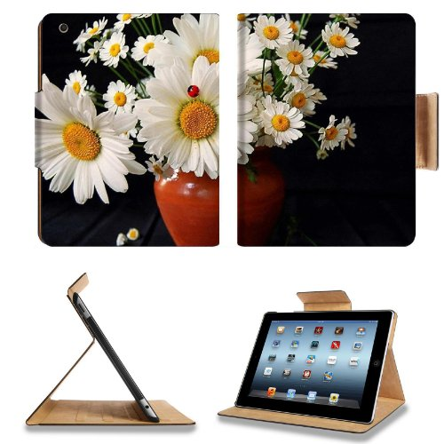 Daisies Flowers Bouquet Vase Ladybug Summer Apple Ipad 2Nd 3Rd 4Th Flip Case Stand Smart Magnetic Cover Open Ports Customized Made To Order Support Ready Premium Deluxe Pu Leather 9 7/8 Inch (250Mm) X 7 7/8 Inch (200Mm) X 5/8 Inch (17Mm) Liil Ipad Profess front-736574