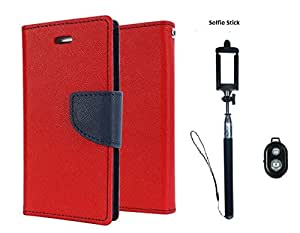 D'clair premium Flip Cover and Selfie Stick With Bluetooth for Samsung Galaxy Grand Neo (Red)