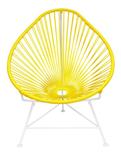Innit Designs Baby Acapulco Chair, Yellow Weave on White Frame