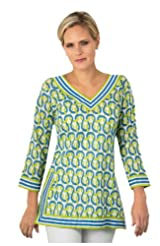 Gretchen Scott Tunic Havana Nights Blue with Lime