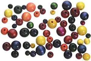Wood Beads-Round-Assorted Colors