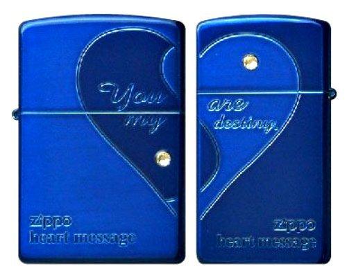 L/K ZIPPO (Zippo) lighter blue / matte finish - 0 - on polished Swarovski ペアハート BL1 (you got one)... MB