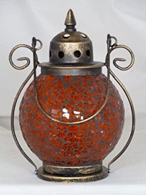 Orange Globe Mosaic Tealight Lantern Candle Lit