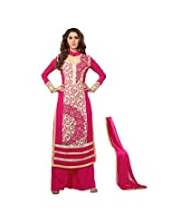 Fabefy Bright Pink Faux Georgette Party Wear Salwar Kameez