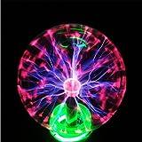 Juneslife Plasma Ball Lamp 6 inch 110V Static Ball Lamp Touch Sensitive Lightning Novelty Magic Plasma Crystal Ball for Office Cafe Bars and Festival Celebration Christmas Day (Color: 6 inch)