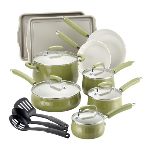 Paula Deen Savannah Collection Aluminum Nonstick 17-Piece Cookware Set, Pear