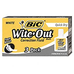 Wite-Out Quick Dry Correction Fluid 20Ml Bottle - Wite-Out Quick Dry Correction Fluid, 20 Ml Bottle, White, 3/Pack