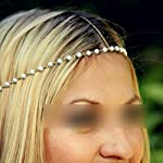 HuaYang Pretty Boho Women Elastic Artificial Pearls Headband Gold Hair Chain Headpiece
