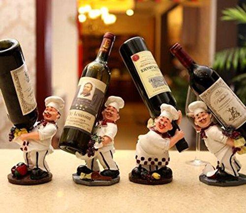 OLizee™4 Chef Resin Decorative Wine Bottle Holder Rack Set of 4 12*16.5*15CM (Wine Bottle Holder Decorative compare prices)