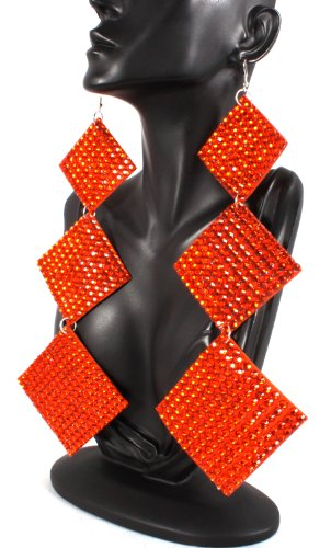 Basketball Wives Earrings Orange Square 9 Inch Drop Poparazzi Earrings Light Weight Iced Out