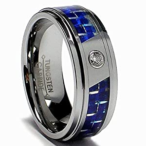 8MM Men's Tungsten Carbide Ring W/ Blue Carbon Fiber Inaly and CZ size 10.5