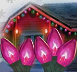 Set Of 25 Transparent Pink C9 Christmas Lights Green Wire 25'