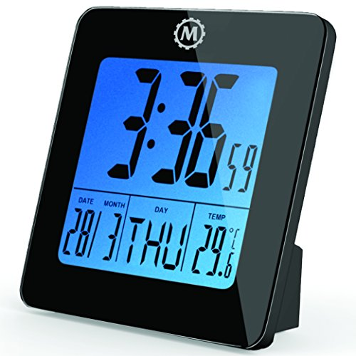 MARATHON CL030050BK Digital Desktop Clock with Day, Date, Temperature, Alarm and Backlight. Black - Batteries Included