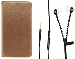 Novo Style Oppo Neo 5 Folio PU Leather Case Slim Cover with Stand+ Zipper Earphones/Hands free With Mic 3.5mm jack