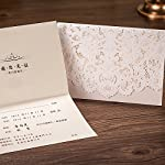 Wishmade 50pcs Ivory Laser Cut Lace Wedding Invitation kit Card Stock with Embossed Floral For Marriage Party Supplies (Set of 50 Piece)