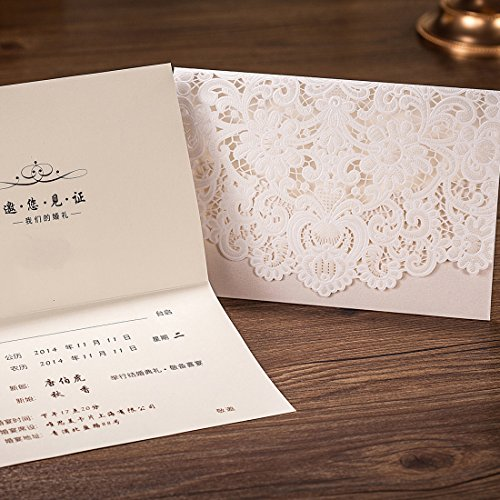 Wishmade 50pcs Ivory Laser Cut Lace Wedding Invitation kit Card Stock with Embossed Floral For Marriage Party Supplies (Set of 50 Piece) 0