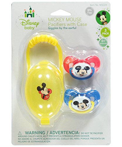 "Mickey Mouse ""Giggles"" 2-Pack Pacifiers with Case - yellow, one size - 1"