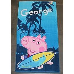 TELO MARE PISCINA ORIGINALE PEPPA PIG GEORGE SPUGNA 100% COTONE BIMBO BAMBINO 70 x 140 BLU