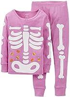 Carter's Little Girls Snug Fit Skeleton Pajamas (Purple)