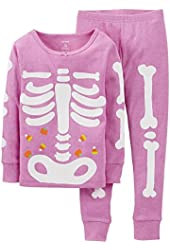 Carter's Little Girls Snug Fit Skeleton Pajamas (Purple)