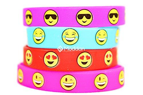 Moddan-Emoji-Smiley-Face-Silicone-Wristband-Bracelets-36-Pieces