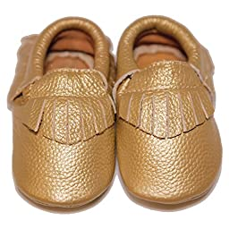 Baby Conda Handmade Bronze Baby Moccasins * 100% Genuine Leather * Soft Sole Slip on Baby Shoes for Boys and Girls * 100% Money Back Guarantee Size 0 - 6 Months