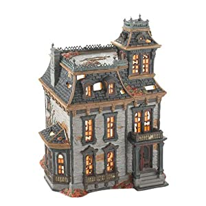 Department 56 4025337 Snow Village Halloween from Department 56 Mordecai Mansion Lit House, 10.63-Inch