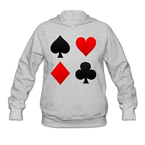 XJ-cool Poker picche Club diamanti cuori donna manica lunga con cappuccio Ash grigio L