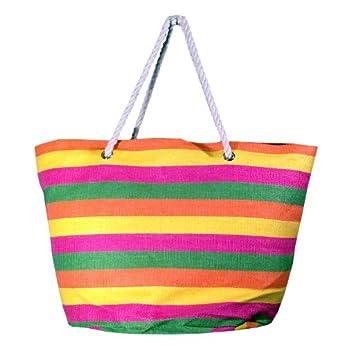 "Oversized Bright Striped Canvas Beach Tote Bag - W5"" D19"" H16"" - Multi"