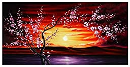 Wieco Art - Plum Tree Blossom Flowers Extra Large Gallery Wrapped Giclee Canvas Prints Floral Landscape Pictures Paintings on Canvas Wall Art Ready to Hang for Living Room Home Decor XL