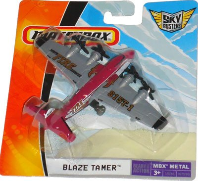 2008 Matchbox Sky Busters (Red & Grey) BLAZE TAMER (MBFD Fire Rescue), MBX METAL #15/36, 4