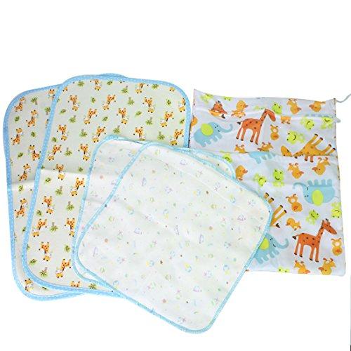 MyKazoe Baby Essentials Gift Set, Waterproof Wet Bag + 2 Waterproof Lap Pads + 2 Muslin Wipe Cloth - Set of 5 (Animal Carnival)