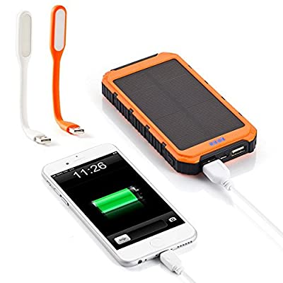 10000mAh Solar Battery PanelOrange Dual USB Port Portable Charger Backup External Battery Pack ; Power Bank for iPhone 6,6+,5S, 5C, 5, 4S, 4, iPad Air, Mini Samsung Galaxy S6,S5, S4, S3 Note 4,3,2, Android Smartphone and Tablets ect; Two Mini Mini USB LED