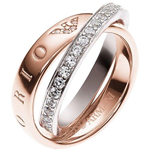 Emporio Armani EG3123anello da donna in argento 925, rosé bianco con zirconi 16,9mm Dimensioni 53