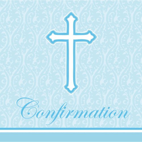 Creative Converting 18 Count Confirmation Lunch Napkins, Faith Blue