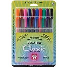 Sakura 37460 10-Piece Gelly Roll Blister Card Assorted Color Medium Point Gel Ink Pen Set