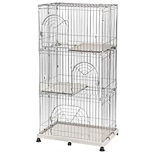 IRIS 3-Tier Wire Cat Cage, Silver