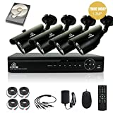 [TRUE 960p ProHD] SMART CCTV System, KARE 1080N DVR Recorder with 4x Super HD 1.3MP Outdoor Cameras and 1TB Pre-installed Hard Drive Disk (P2P Technology, 1280x960 Bullet Cam Even Better Than 720P, Rapid USB Storage Backup, Vandal and Water-Proof Body, Night Vision, Mobile App: Xmeye)
