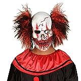 Clown Maske Zombie Totenkopfmaske mit Haaren Horror Clownsmaske Horrorclown Faschingsmaske Totenkopf Horrormaske Grusel Halloweenmaske Halloween Masken Latex