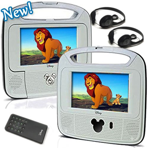 "Disney 7""inch Dual Screen Widescreen LCD Mobile DVD Player D7500PDD w/ Remote Control, Car Accessories and 2 Set Headphones. Plays DVDs, Audio CDs, and More"