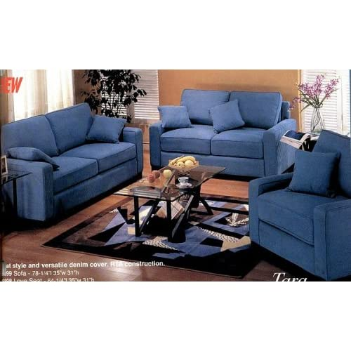 Tara blue fabric denim couch sofa loveseat and chair full set love seats Denim couch and loveseat