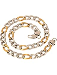 The Jewelbox Mens Stainless Steel Rhodium Gold Solid Figaro Curb Chain 23.5""