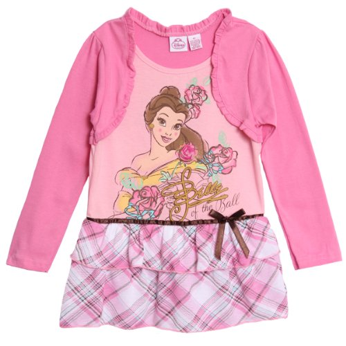 Disney Princess Little Girls' 1 Piece Belle Pink Long Sleeve Plaid Ruffle Dress