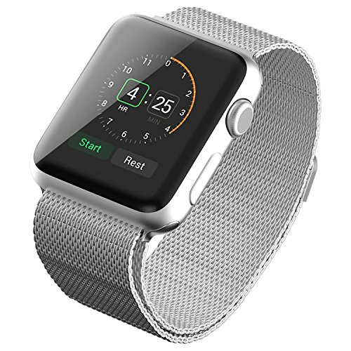 Evershop® Stainless Steel Magnetic Closure Clasp Bracelet Metal Smart Watch Band Strap for Apple Watch iwatch, Wrist Band for Apple Watch & Sport & Edition38mm (Silver)