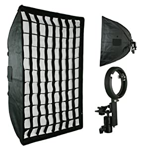 ePhoto Off Camera HoneyComb Grid Large Softbox For Nikon Canon Speedlight SB800, SB900, 430EX, 580EX LBW6090GD
