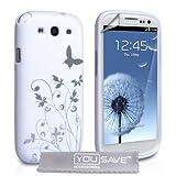 """Samsung Galaxy S3 Tasche Wei� Schmetterling Gel H�lle Mit Displayschutz Und Poliertuchvon """"Yousave Accessories�"""""""