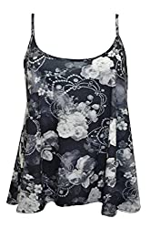 Fashion 4 Less Women Strapy Printed Cami Vest Top. UK 16-26