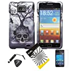 4 items Combo: Stylus Pen + Screen Protector Film + Case Opener + Silver Blue Greyish Tree Skull Design Rubberized Snap on Hard Shell Cover Faceplate Skin Phone Case for Samsung Galaxy S2 / SII / II / 2 / SGH-i777 / i9100 (AT&T Version) / Straight Talk S959G