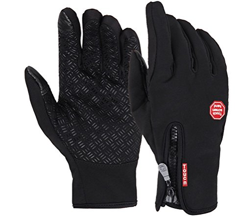 Wenseny - Men's Winter Outdoor Cycling Glove Touchscreen Gloves for Smart Phone black-L